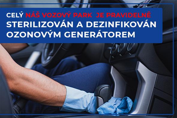 celý náš vozový park je pravidelně sterilizován a dezinfikován ozonovým generátorem